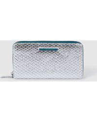 Jo & Mr. Joe - Wilco Large Silver Metallic Wallet With Zip - Lyst