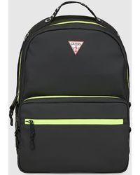 Guess - Mens Black Backpack With Neon Details And Zip Fastening - Lyst