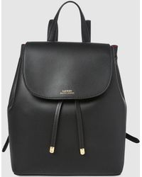 a1a03446b7 Lauren by Ralph Lauren - Black Leather Backpack With Red Lining - Lyst