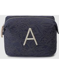 El Corte Inglés - Navy Blue Fabric Toiletry Bag With A Embroidery - Lyst