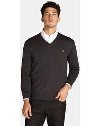 Lacoste - Grey V-neck Sweater - Lyst