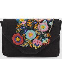 El Corte Inglés - Wo Black Jute Crossbody Bag With Floral Embroidery - Lyst 972c5b6d4b759