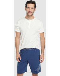 Emporio Armani - Short Blue Knitted Pyjama Bottoms - Lyst