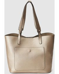 El Corte Inglés - Gold Shopper Bag With An Outer Pocket - Lyst