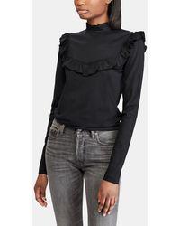 Polo Ralph Lauren - Black T-shirt With Frill - Lyst
