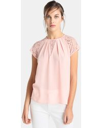 Yera - Blouse With Lace On The Sleeves - Lyst