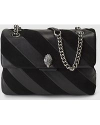 Kurt Geiger - Soho Leather Shoulder Bag With Black Angled Stripes - Lyst