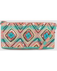 Green Coast - Wo Multicoloured Jacquard Crossbody Bag With Blue Pompoms - Lyst