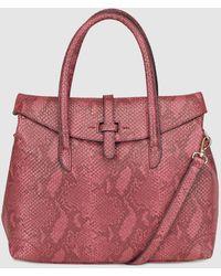 El Corte Inglés - Large Burgundy Handbag With Snakeskin Effect - Lyst