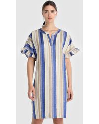 Yera - Striped Dress With Frilled Sleeves - Lyst