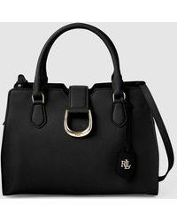 b8eb1f4fd947 Lauren by Ralph Lauren - Laurent Ralph Lauren Black Calfskin Leather Handbag  With Zip - Lyst
