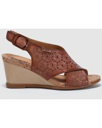 Pikolinos - Brown Leather Wedge Sandals - Lyst