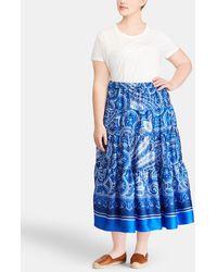 Denim & Supply Ralph Lauren - Plus Size Blue Printed Midi Skirt - Lyst