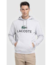 ae4ce23fb Lacoste Cotton Fleece Logo Hoodie in Gray for Men - Lyst