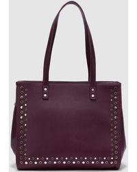 El Corte Inglés - Burgundy Shopper Bag With Metallic Studs - Lyst