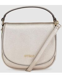 Guess - Silver Messenger Bag With Saffiano Effect - Lyst