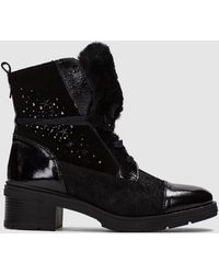 Hispanitas - Black Patent Leather And Suede Boots - Lyst