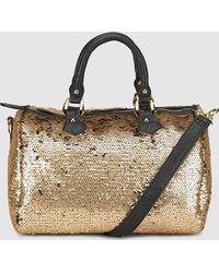 El Corte Inglés - Reversible Gold Bowling Bag With Sequins - Lyst