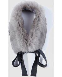 El Corte Inglés - Grey Natural Fur Cowl With Bow - Lyst