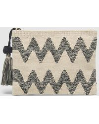 El Corte Inglés - Tan Raffia Pouch Bag With Black Zigzag - Lyst