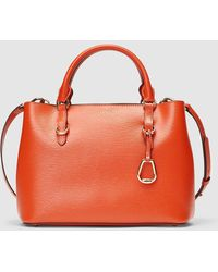 Lauren by Ralph Lauren - Orange Saffiano Leather Handbag With Pendant - Lyst