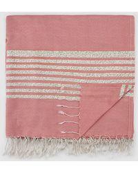 Jo & Mr. Joe - White And Pink Stripe Print Beach Wrap - Lyst