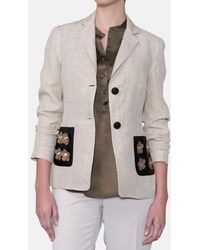 Mirto - Linen Jacket With Decorated Pockets - Lyst