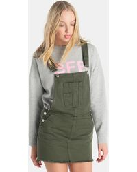 Green Coast - Denim Pinafore Dress With Frayed Hem - Lyst