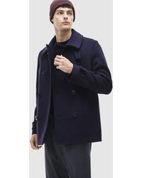 Lacoste | Blue Three Quarter Coat With Two Pockets | Lyst