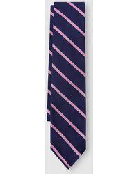 Polo Ralph Lauren - Cravate En Soie Bleu Marine À Rayures Contrastantes - Lyst