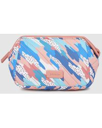 Jo & Mr. Joe - Blue And Pink Printed Toiletry Bag With Zip - Lyst