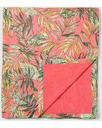 El Corte Inglés - Coral Cotton Beach Wrap With A Leaf Print - Lyst