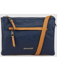 Pepe Moll - Wo Medium Blue Crossbody Bag With Brown Details - Lyst