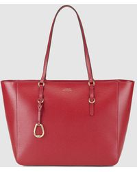 Lauren by Ralph Lauren - Red Calfskin Leather Tote Bag With Zip - Lyst