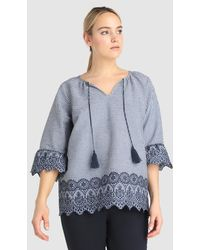 Couchel - Plus Size Blouse With Gingham Checks And Embroidery - Lyst