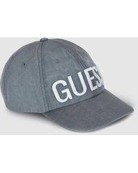 d0972d6a668b2 Guess - Grey Cotton Cap With Logo - Lyst