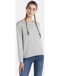 Esprit - Grey Sweatshirt With Pearls - Lyst