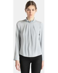 Emporio Armani - Long Sleeve Grey Blouse - Lyst