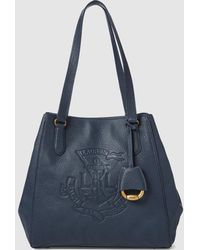 Lauren by Ralph Lauren - Navy Blue Calfskin Leather Tote Bag With Magnet  Closure - Lyst 575b884ad2014