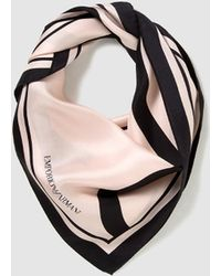 Emporio Armani - Nude Silk Foulard With Contrasting Print - Lyst