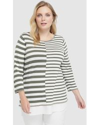 Couchel - Plus Size Striped Jumper With Shirt-tails - Lyst