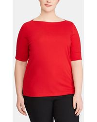 Denim & Supply Ralph Lauren - Lauren Ralph Lauren Plus Size Red Boat Neck T-shirt - Lyst