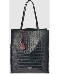 Gloria Ortiz - Robyn Black Leather Tote Bag With Mock-croc Embossing - Lyst