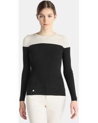 Lauren by Ralph Lauren - Black And White Ribbed Jumper - Lyst