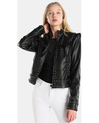 Guess - Studded Jacket With Frills - Lyst