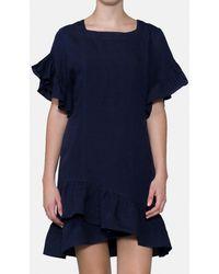 Mirto - Navy Blue Dress With Frill - Lyst