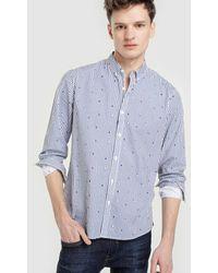 Green Coast - Slim-fit White Multi-print Oxford Shirt - Lyst