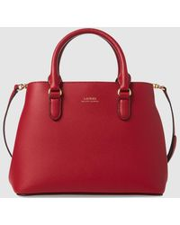 Lauren by Ralph Lauren - Red Leather Handbag With Brand Detail - Lyst