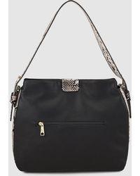 Pepe Moll - Black Hobo Bag With Snakeskin Print - Lyst