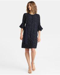 Yera - Polka Dot Print Dress With Frill - Lyst